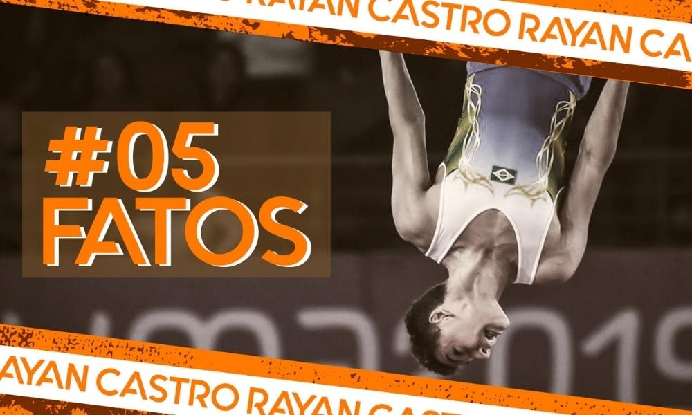 Rayan Castro, da Ginástica de Trampolim, na arte do 5 fatos, curiosidades, quadro do Olimpíada Todo Dia