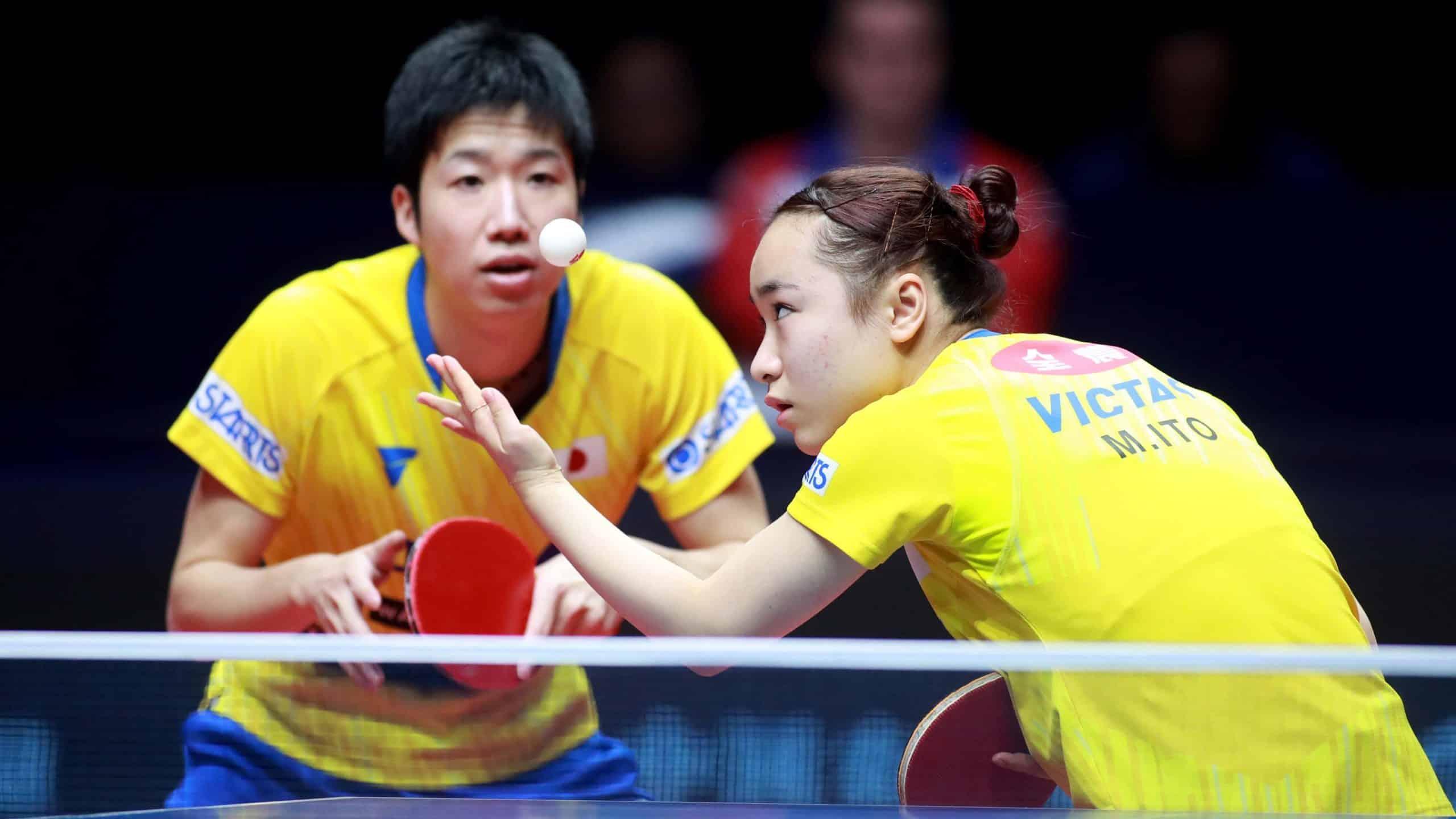 Jun Mizutani e Mima Ito (dir), aposta do Japão na dupla mista na Olimpíada