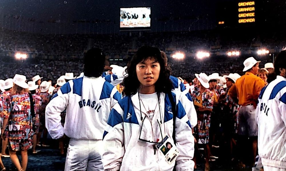 Monica Doti na abertura dos Jogos de Barcelona-1992, a primeira de suas duas Olimpíadas
