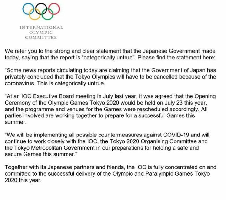 COI Jogos Tóquio 2020 pandemia coronavírus