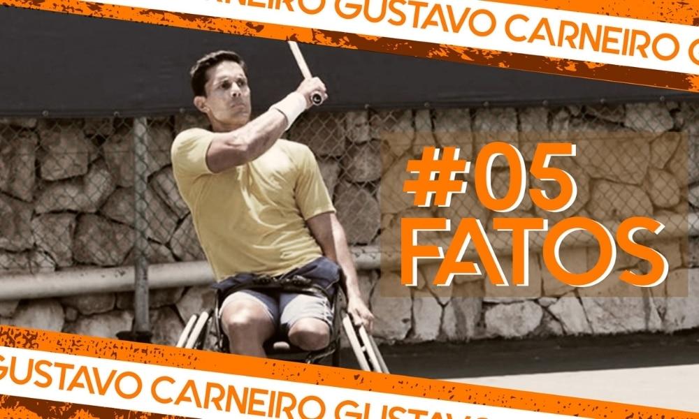 Gustavo Carneiro, do tênis em cadeira de rodas, na arte do 5 fatos, quadro do Olimpíada Todo Dia