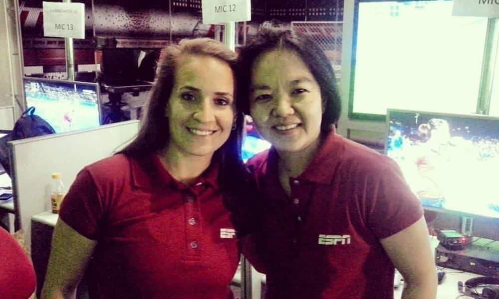 Camila Comin e Lyanne Kosaka durante a cobertura dos Jogos do Rio-2016 pela ESPN