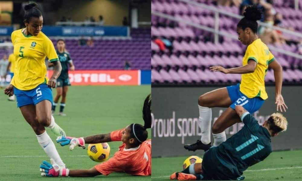 Enquanto a zagueira Tainara realizou a primeira partida na equipe principal, a atacante Geyse marcou o primeiro gol da carreira na seleção adulta.