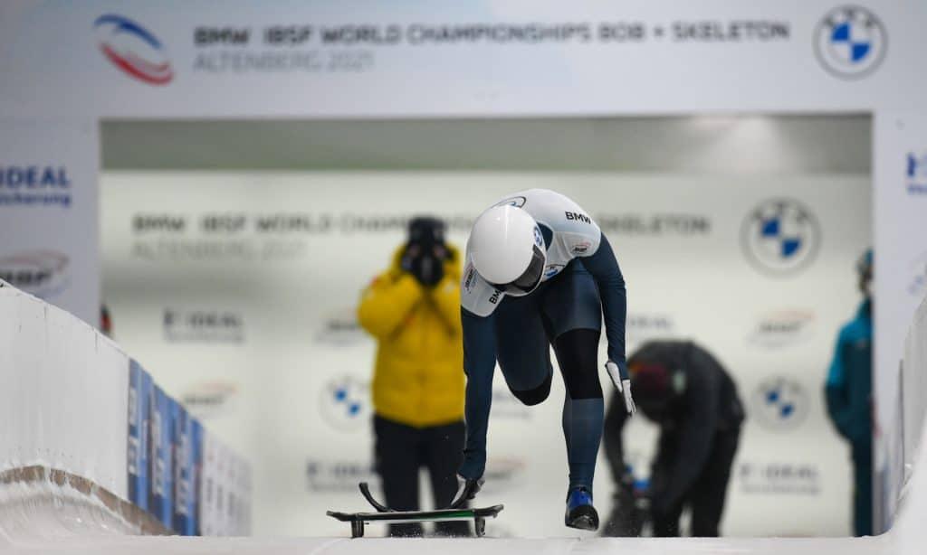 Nicole Silveira em uma das largadas no Mundial de Skeleton