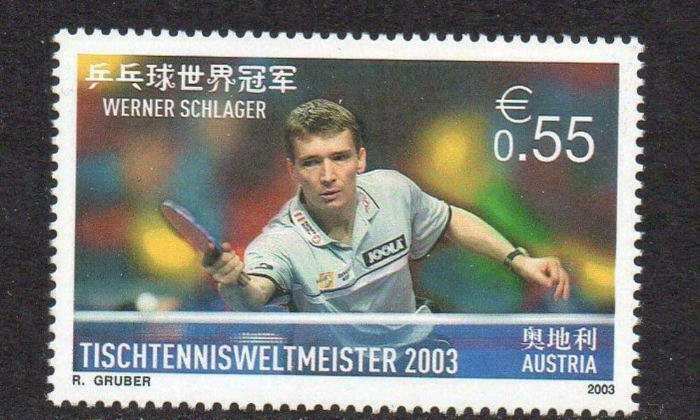 Selo na Áustria em comemoração ao título mundial de Werner Schlager em 2003