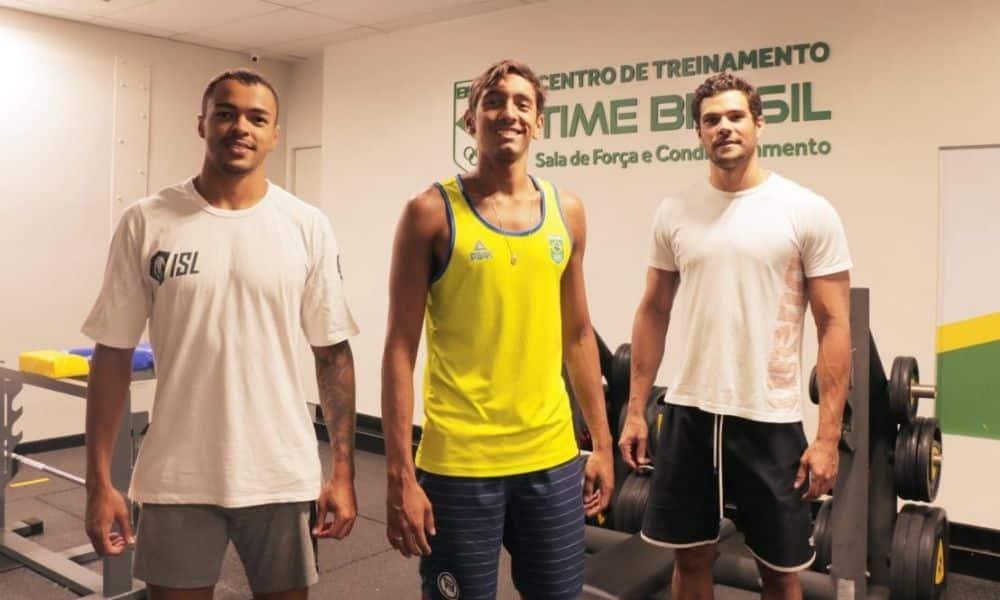 Velocistas da natação brasileira, Breno Correia, Gabriel Santos, Marcelo Chierighini e Pedro Spajari trabalham no CT Time Brasil para seletiva olímpica