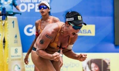ágatha vibra ao lado da parceira duda na sétima etapa do circuito brasileiro de vôlei de praia