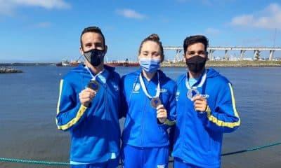 Alexandre Finco, Cibele Jungblut e Bruno Hanson Almeida maratona aquática Campeonato Sul-Americano de Esportes Aquáticos