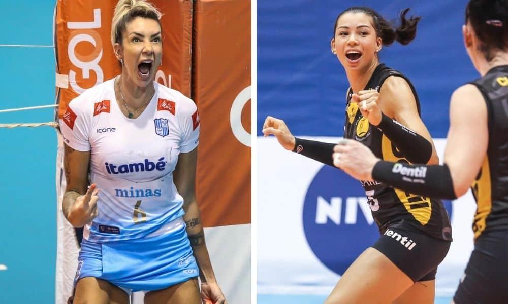 As centrais Thaisa, do Minas, e Carol, do Praia, na decisão da Superliga de vôlei feminino