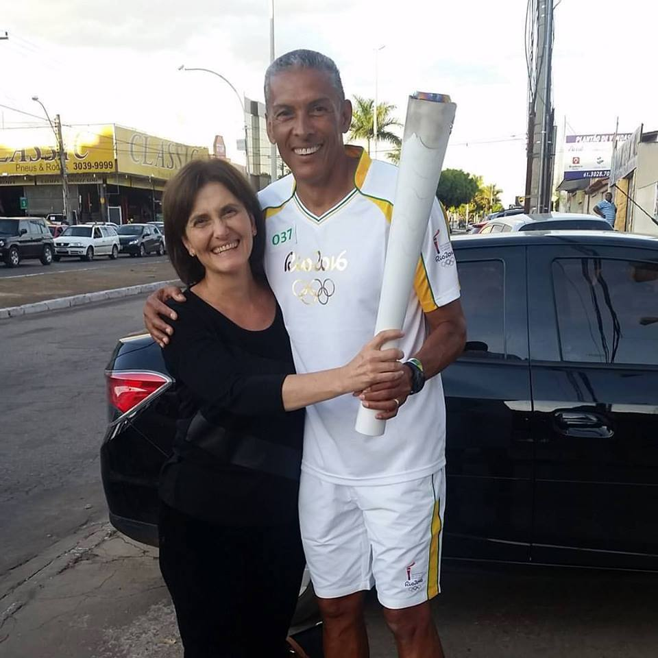 Katia Rubio e Joaquim Cruz, campeão olímpico em Los Angeles-1984