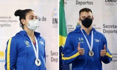 rafaela raurich e victor baganha campeonato sul americano de esportes aquáticos