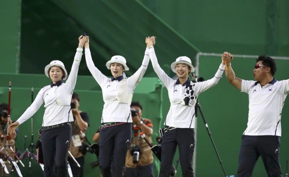 Coreia do Sul equipe feminina tiro com arco