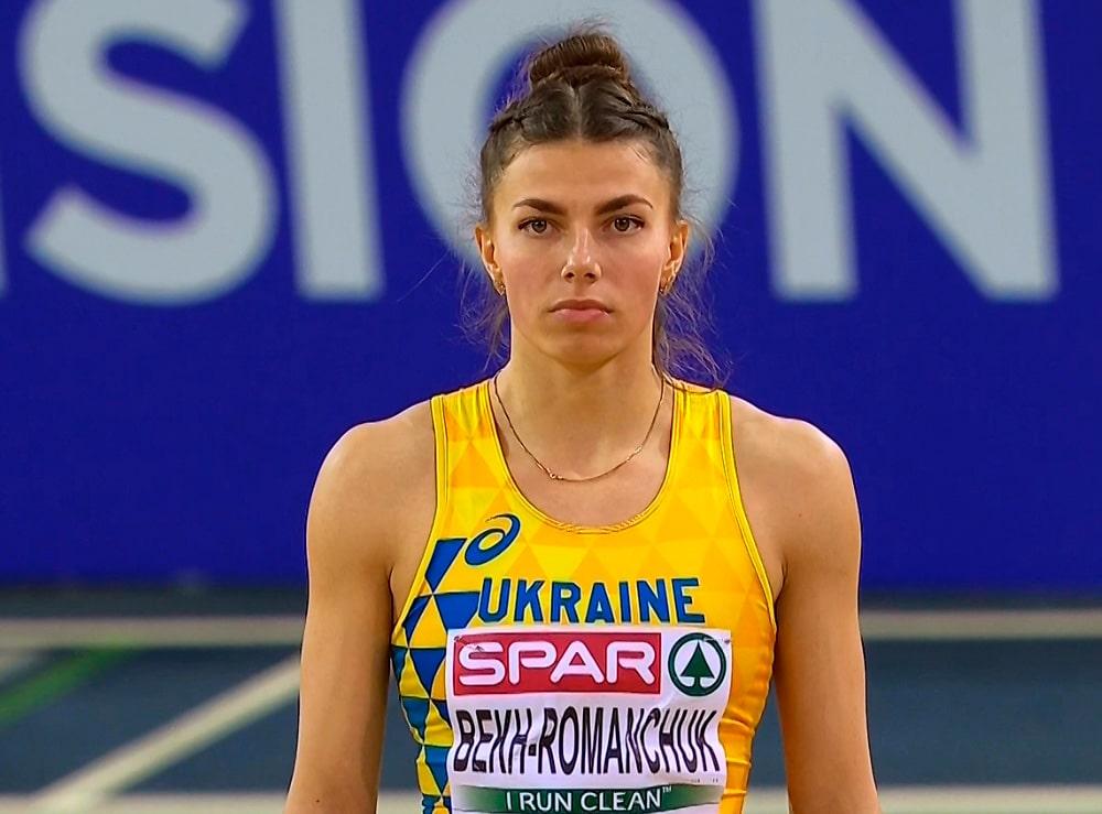 Maryna Bekh-Romanchuk no salto em distância feminino em Tóquio-2020