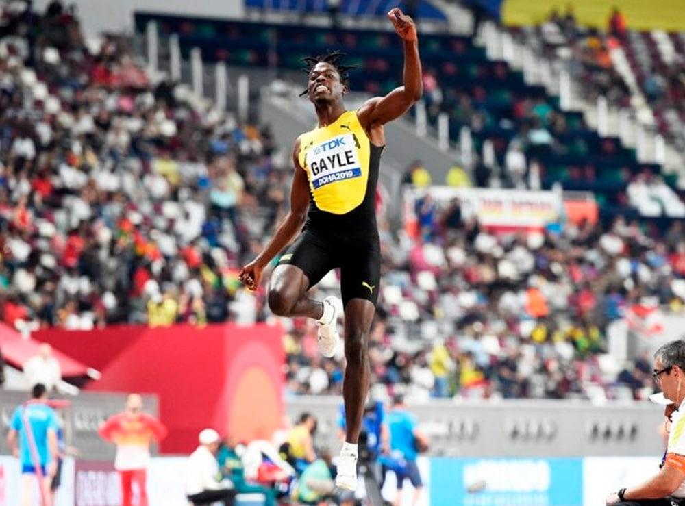 Tajau Gayle no salto em distância masculino