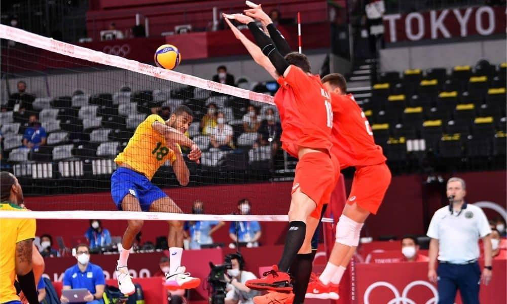 Brasil e Rússia - Seleção brasileira de vôlei masculino - Jogos Olímpicos de Tóquio