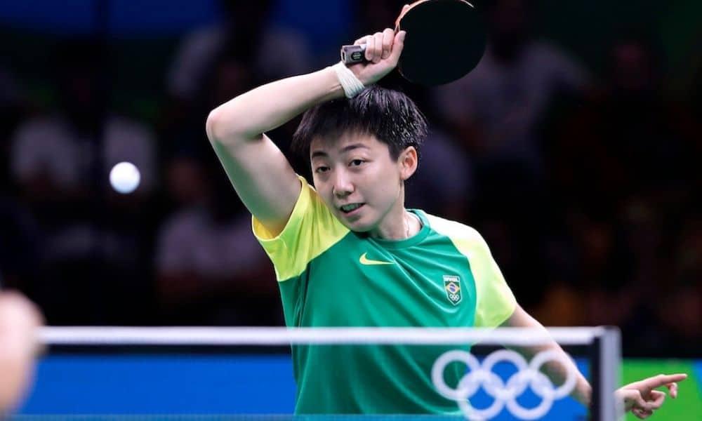 A mesatenista Gui Lin em ação nos Jogos do Rio-2016