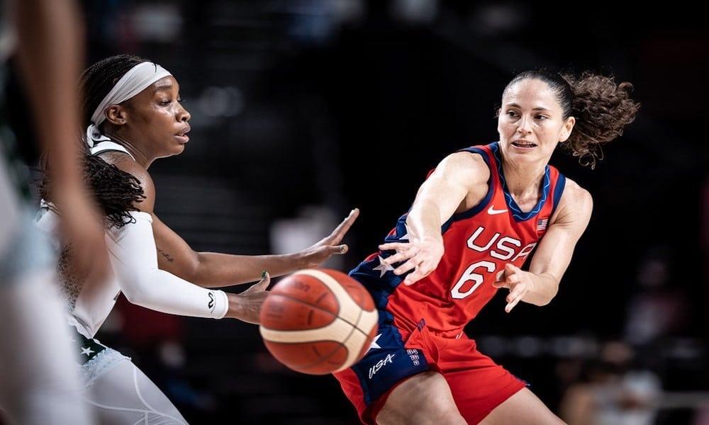 Sue Bird deu 13 assistências na partida entre EUA e Nigéria, nos Jogos Olímpicos