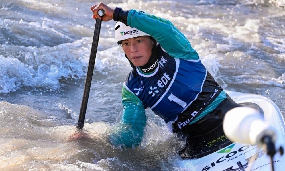 Ana Sátila e Mathieu Desnos competiram na Copa do Mundo de canoagem slalom