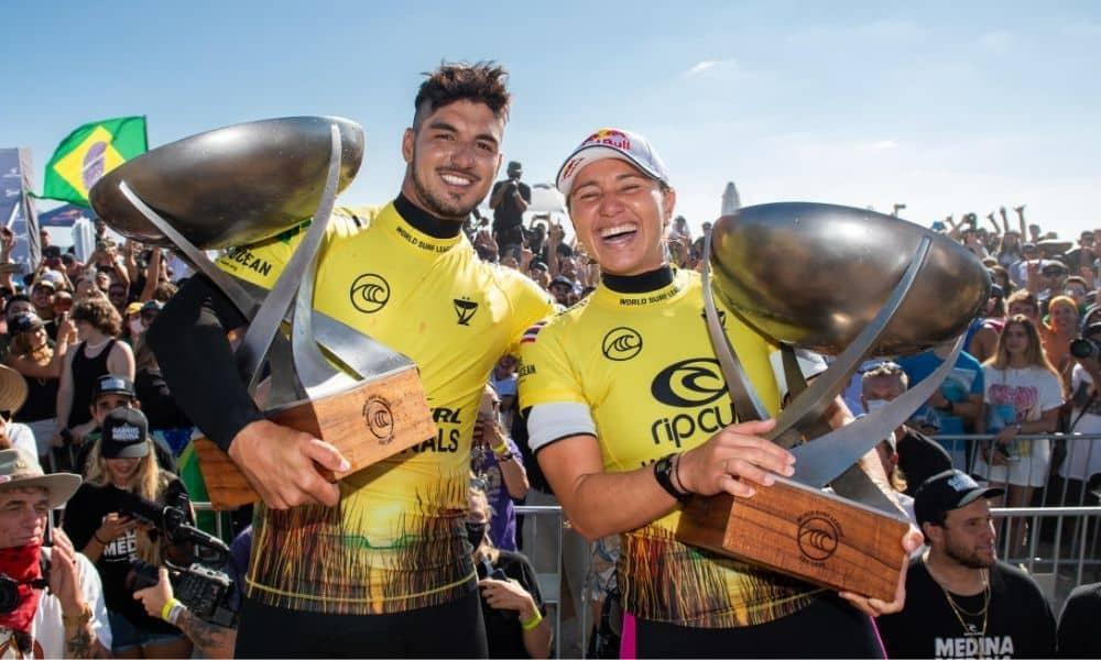 Gabriel Medina e Carissa Moore campeões mundiais de surfe 2021 trestles